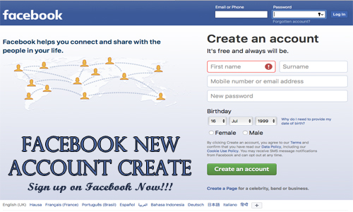 Facebook New Account Create